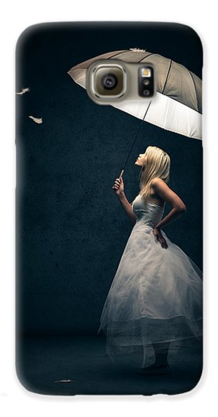 Girl With Umbrella And Falling Feathers Galaxy S6 Case by Johan Swanepoel