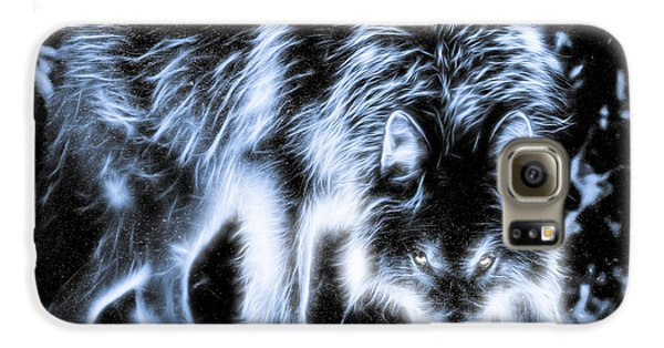Galaxy S6 Case featuring the photograph Glowing Wolf In The Gloom by Rikk Flohr