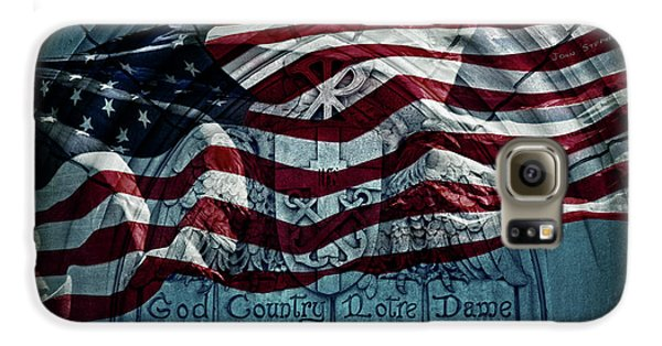 God Country Notre Dame American Flag Galaxy S6 Case by John Stephens
