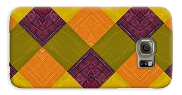 Galaxy S6 Case featuring the painting Gold And Green With Orange 2.0 by Michelle Calkins
