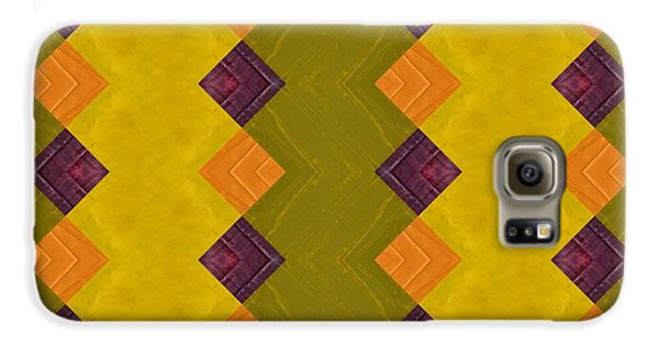 Galaxy S6 Case featuring the painting Gold And Green With Orange  by Michelle Calkins