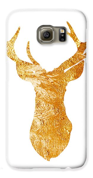 Gold Deer Silhouette Watercolor Art Print Galaxy S6 Case by Joanna Szmerdt