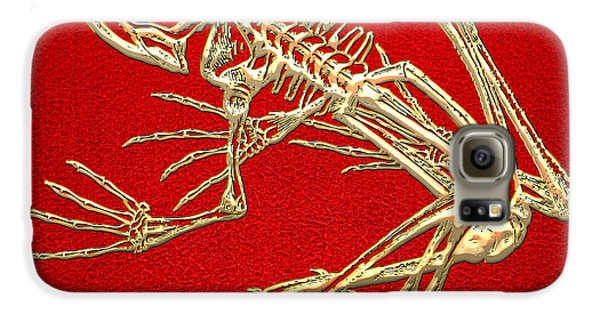 Design Galaxy S6 Case - Gold Frog Skeleton On Red Leather by Serge Averbukh