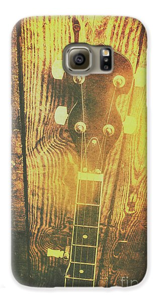 Golden Banjo Neck In Retro Folk Style Galaxy S6 Case by Jorgo Photography - Wall Art Gallery