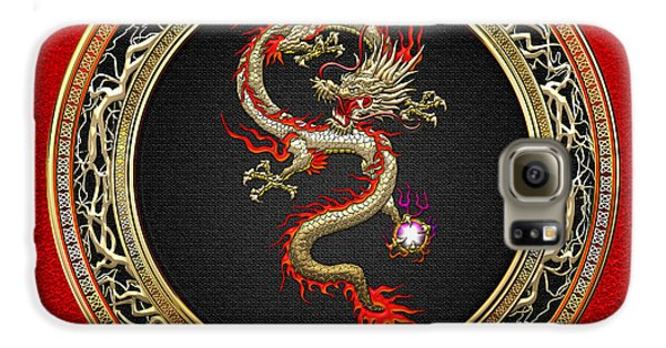 Golden Chinese Dragon Fucanglong On Red Leather  Galaxy S6 Case by Serge Averbukh