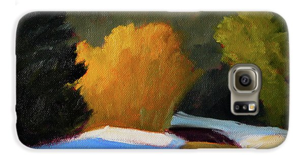 Galaxy S6 Case featuring the painting Golden Light Winter Road by Nancy Merkle