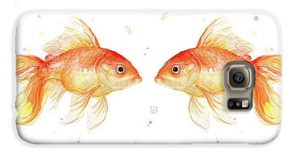 Goldfish Love Watercolor Galaxy S6 Case by Olga Shvartsur