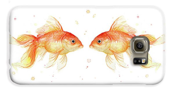 Goldfish Galaxy S6 Case - Goldfish Love Watercolor by Olga Shvartsur