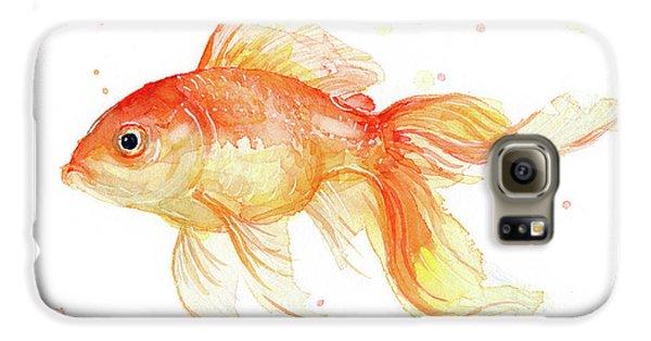 Goldfish Painting Watercolor Galaxy S6 Case by Olga Shvartsur