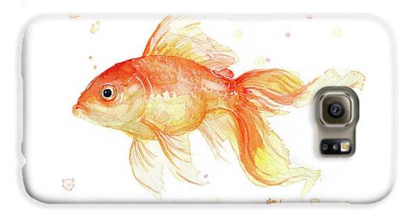 Goldfish Galaxy S6 Case - Goldfish Painting Watercolor by Olga Shvartsur
