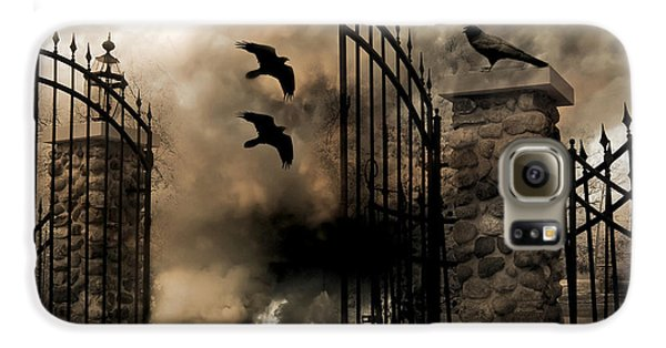 Gothic Surreal Fantasy Ravens Gated Fence  Galaxy S6 Case by Kathy Fornal