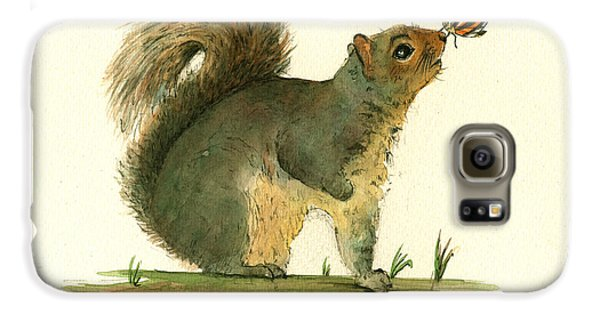 Gray Squirrel Butterfly Galaxy S6 Case by Juan Bosco