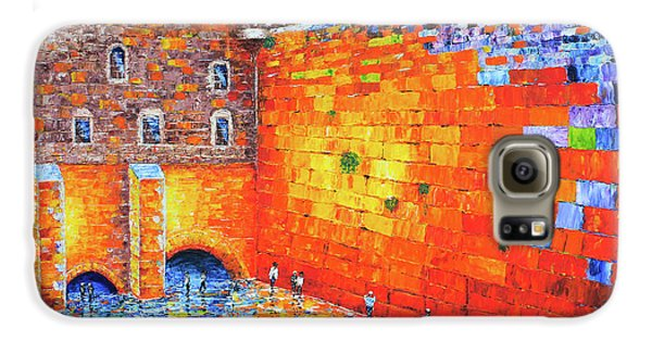 Galaxy S6 Case featuring the painting Wailing Wall Greatness In The Evening Jerusalem Palette Knife Painting by Georgeta Blanaru