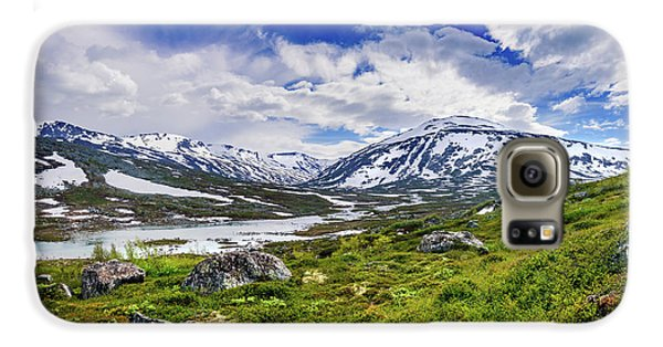 Mountain Galaxy S6 Case - Green Carpet Under The Cotton Sky by Dmytro Korol