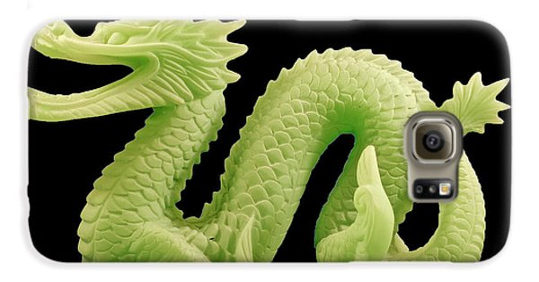 Galaxy S6 Case featuring the photograph Green Dragon On Black by Bill Barber