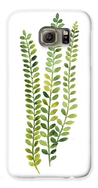 Garden Galaxy S6 Case - Green Fern Watercolor Minimalist Painting by Joanna Szmerdt