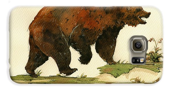 Grizzly Bear Galaxy S6 Case - Grizzly Bear Art by Juan  Bosco