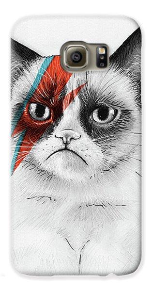 Grumpy Cat As David Bowie Galaxy S6 Case by Olga Shvartsur