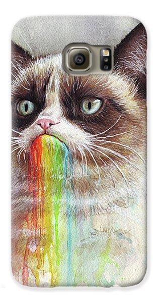Cat Galaxy S6 Case - Grumpy Cat Tastes The Rainbow by Olga Shvartsur
