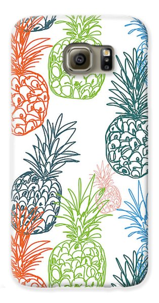 Happy Pineapple- Art By Linda Woods Galaxy S6 Case by Linda Woods
