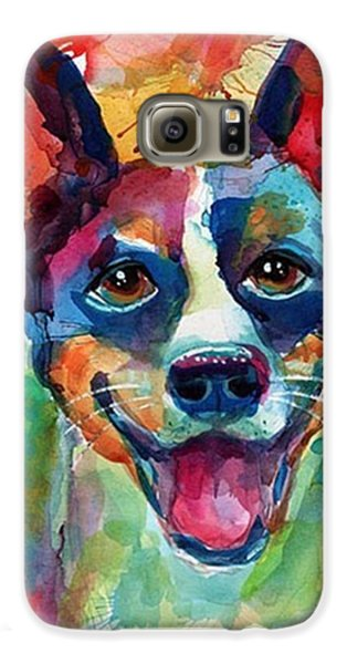 Galaxy S6 Case - Happy Rat Terrier Watercolor Portrait by Svetlana Novikova