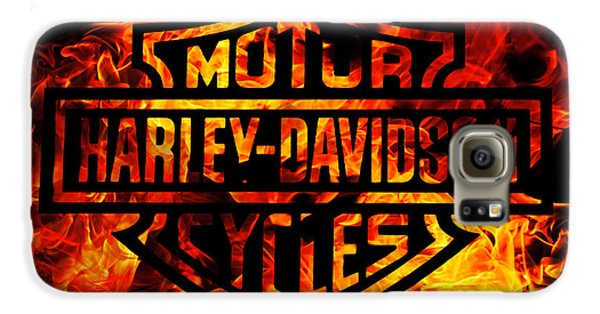 Motorcycle Galaxy S6 Case - Harley Davidson Logo Flames by Randy Steele