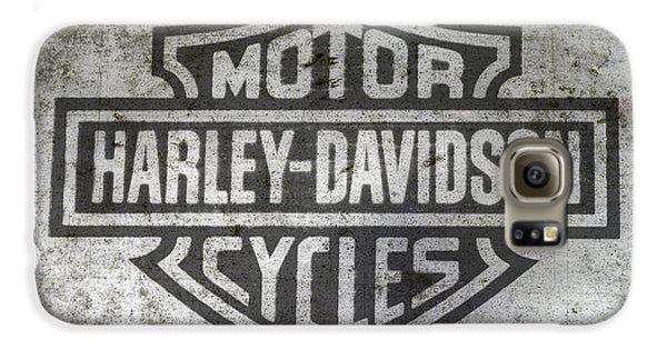 Motorcycle Galaxy S6 Case - Harley Davidson Logo On Metal by Randy Steele