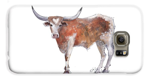 Cow Galaxy S6 Case - Heart Of Texas Longhorn by Kathleen McElwaine