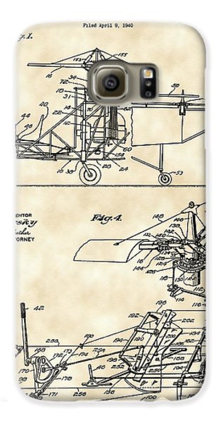 Helicopter Galaxy S6 Case - Helicopter Patent 1940 - Vintage by Stephen Younts