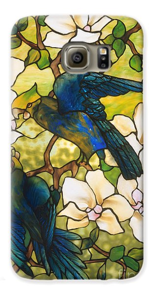 Lovebird Galaxy S6 Case - Hibiscus And Parrots by Louis Comfort Tiffany
