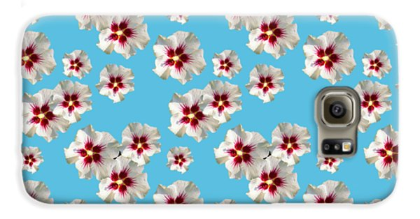Galaxy S6 Case featuring the mixed media Hibiscus Flower Pattern by Christina Rollo