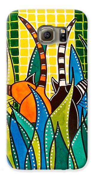 Galaxy S6 Case featuring the painting Hide And Seek - Cat Art By Dora Hathazi Mendes by Dora Hathazi Mendes
