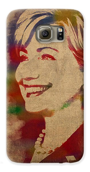 Hillary Rodham Clinton Watercolor Portrait Galaxy S6 Case by Design Turnpike