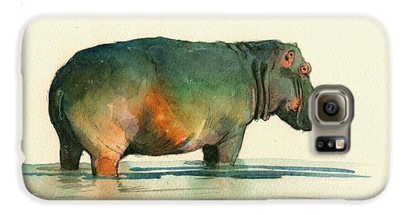 Hippo Watercolor Painting Galaxy S6 Case