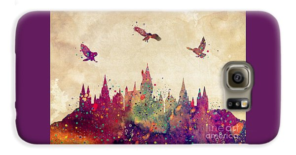 Wizard Galaxy S6 Case - Hogwarts Castle Watercolor Art Print by Svetla Tancheva