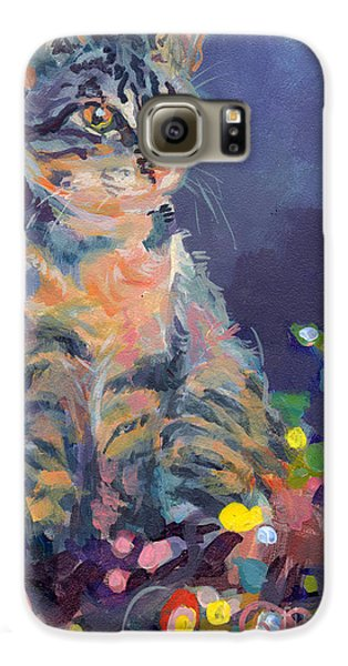 Cat Galaxy S6 Case - Holiday Lights by Kimberly Santini