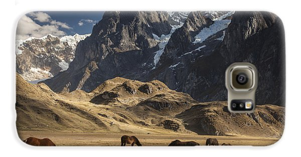 Mountain Galaxy S6 Case - Horses Grazing Under Siula Grande by Colin Monteath