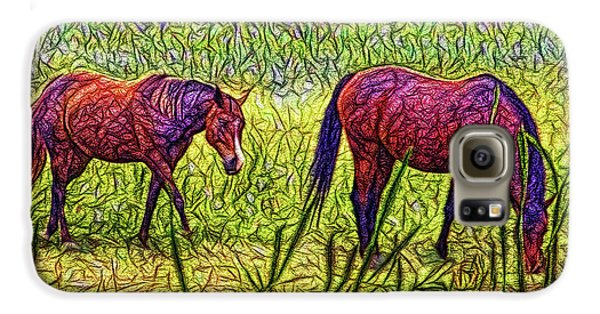 Horses In Tranquil Field Galaxy S6 Case
