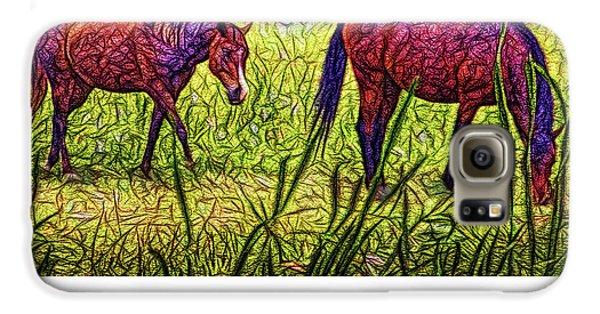 Horses In Tranquil Field Galaxy S6 Case by Joel Bruce Wallach