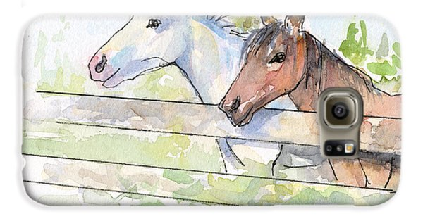 Horse Galaxy S6 Case - Horses Watercolor Sketch by Olga Shvartsur