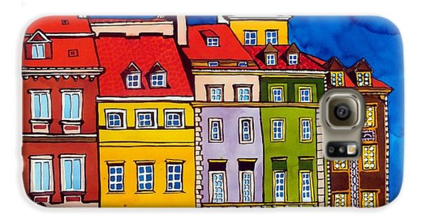 Galaxy S6 Case featuring the painting Houses In The Oldtown Of Warsaw by Dora Hathazi Mendes