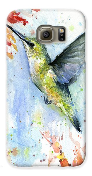 Hummingbird And Red Flower Watercolor Galaxy S6 Case by Olga Shvartsur