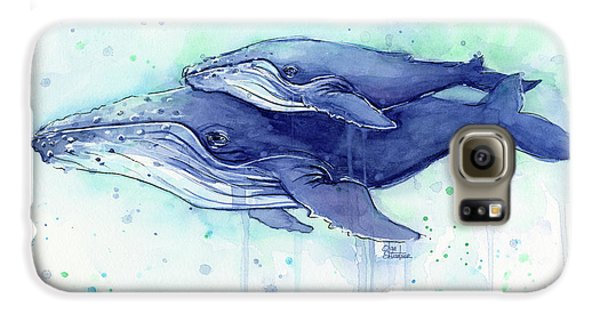 Humpback Whale Mom And Baby Watercolor Galaxy S6 Case by Olga Shvartsur