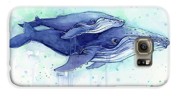 Humpback Whales Mom And Baby Watercolor Painting - Facing Right Galaxy S6 Case by Olga Shvartsur