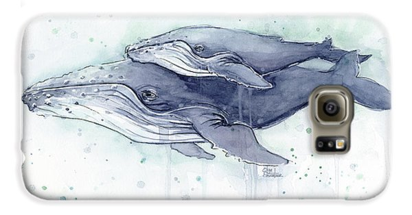 Humpback Whales Painting Watercolor - Grayish Version Galaxy S6 Case by Olga Shvartsur