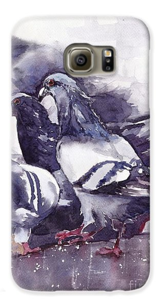 Pigeon Galaxy S6 Case - Hungry Pigeons Watercolor by Suzann's Art