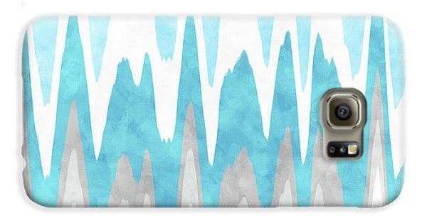 Galaxy S6 Case featuring the mixed media Ice Blue Abstract by Christina Rollo