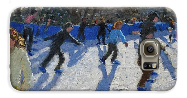 Ice Skaters At Christmas Fayre In Hyde Park  London Galaxy S6 Case by Andrew Macara