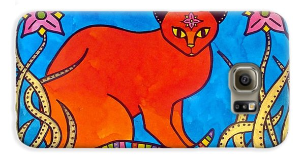 Galaxy S6 Case featuring the painting Indian Cat With Lilies by Dora Hathazi Mendes