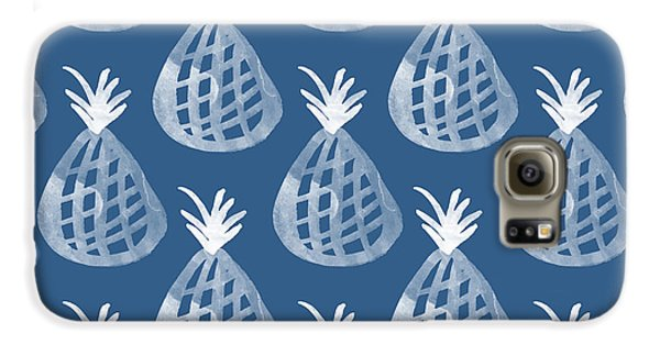 Indigo Pineapple Party Galaxy S6 Case by Linda Woods